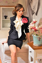 Tweed black knee length Lapel Office Lady Skirt Suit latest suit styles for women