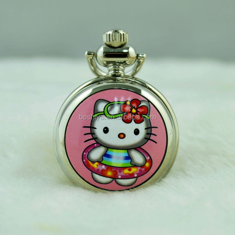 Hello Kitty series fashion enamel printing small quartz pocket watch for cjild