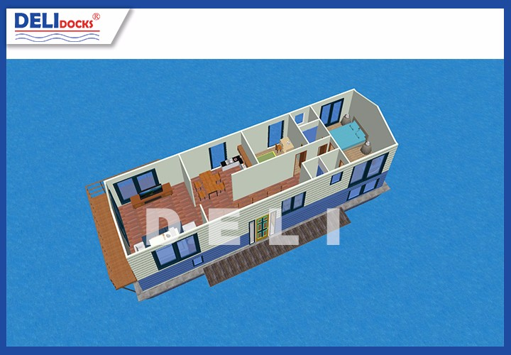 Seashore aluminium frame wooden wall prefabricated floating house