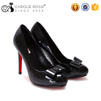 Latest fashion black high heel women platform red bottom shoe pumps