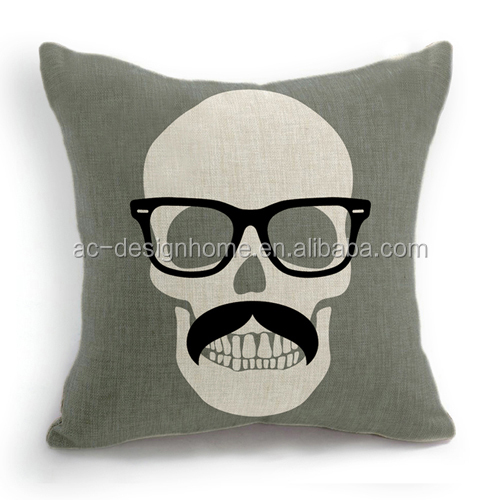 SKULL SQUARE FABRIC CUSHION WITH FILLING & CUSHION COVER