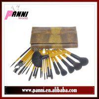 Hot selling pro makeup brush set 24pcs goat,pony,nylon,fox hair brush with yellow wood handle in yellow pouch