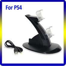Blue led dual charger stand for PS4 controller