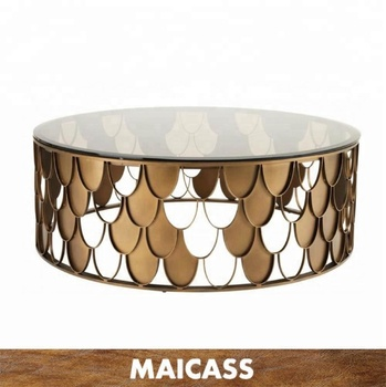 Italian design gold stainless steel tempered glass top coffee table