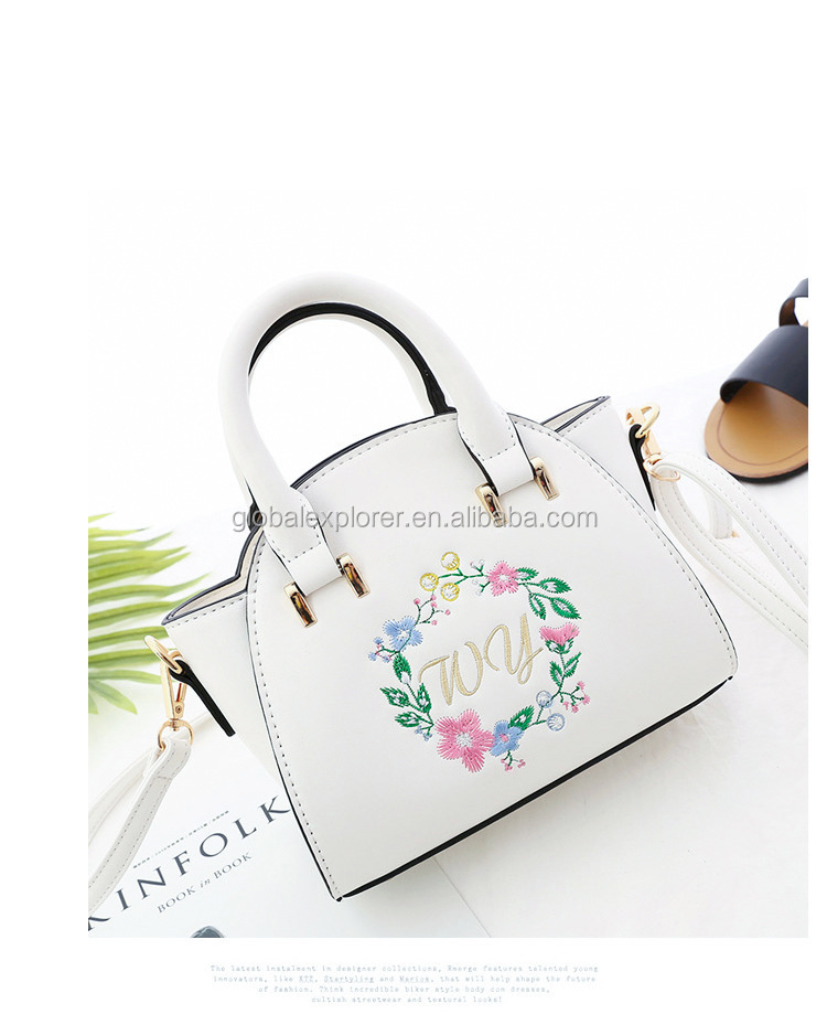 Special Free Embroidery Pattern Trolley Vegan Leather Pu Handbag