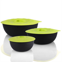 Silicone Bowl Lids Reusable Suction Seal Covers for Bowls Pots Cups Green
