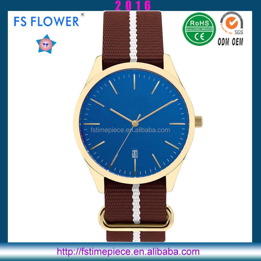 FS FLOWER -Canvas Nato Strap Young Fashion Watch 3atm Water Resistant Stainless Steel Watch Case