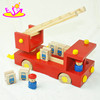 New product very nice fire truck toy,love design Kids fire fighting truck toy,Red Children wooden moving truck toy W04A158