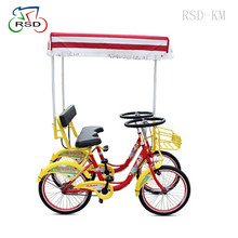 Red color alloy rim wheels with 2 seats/plastic basket and pedal tandem bikes/Double Bench Surrey