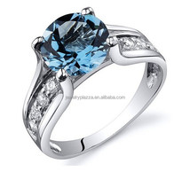 2015 Fashion Pure Silver Jewelry Wholesale 925 Sterling Silver Sapphire Diamond Wedding Ring