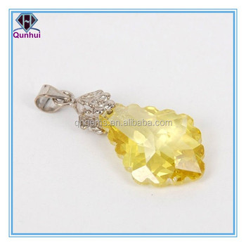 elegant design irregular shaped yellow cz stone earrings