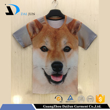 Daijun oem short sleeve dog animal qucik dry high quality t shirt 3d