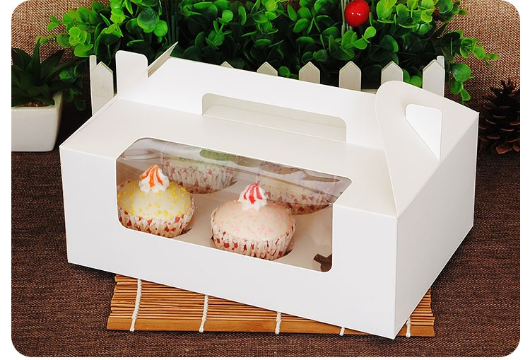 White Cake Box For Single Cupcake Box