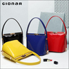 Stock Offer Shenzhen Plain Red Blue Yellow Black Glossy PU Leather Small Handbag