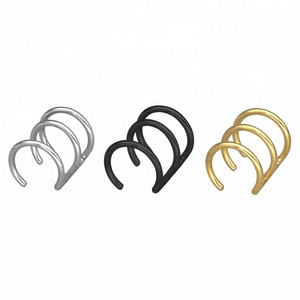 Unique wide ear cuff stainless steel spiral ear clip