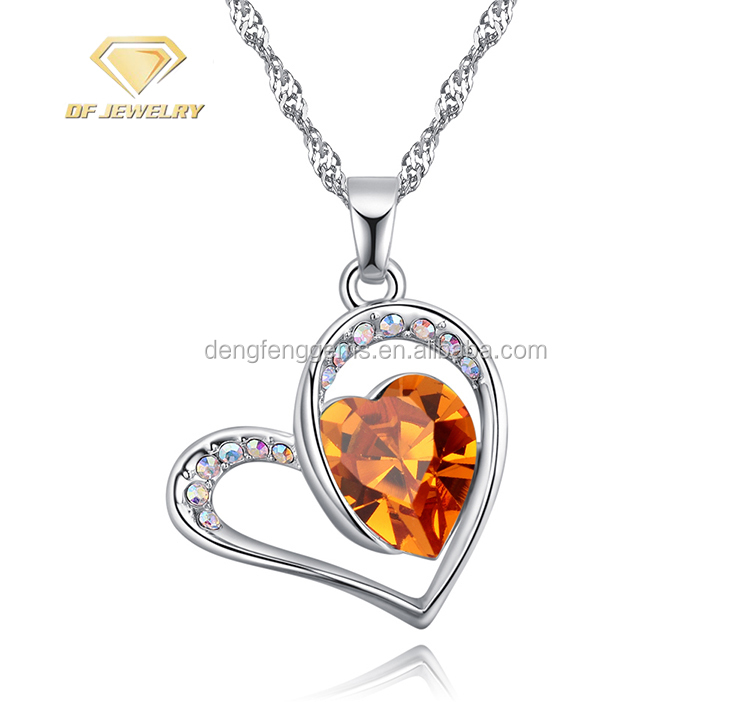 2018 Custom Love Shape Gold Yellow CZ Silver Pendant Necklace