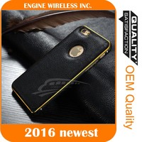 metal bumper leather back cover case for samsung galaxy j1