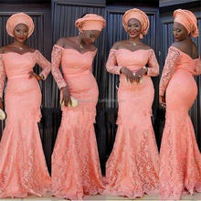 Customer Photo Africa Mermaid Prom Dresses Classical Lace Long Sleeves Mermaid Coral Peach Long Bridesmaid Dress Party