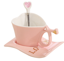 Love Heart Shape Tea Milk Coffee Water Ceramic Cup Set With Matching Spoon Valentine's Day Gift Christmas Gifts (Pink)