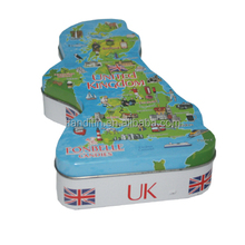 UK Map Style choc and biscuit tin box for gift