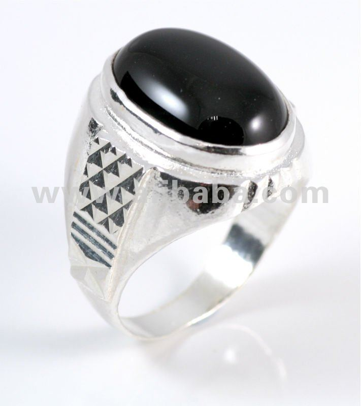 Huge Black Onyx Cocktail Ring in Pure 925 Sterling Silver