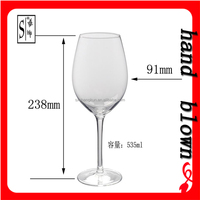 customized hand-made transparent 530ml red wine glass goblet with decal decoration HRWG-019
