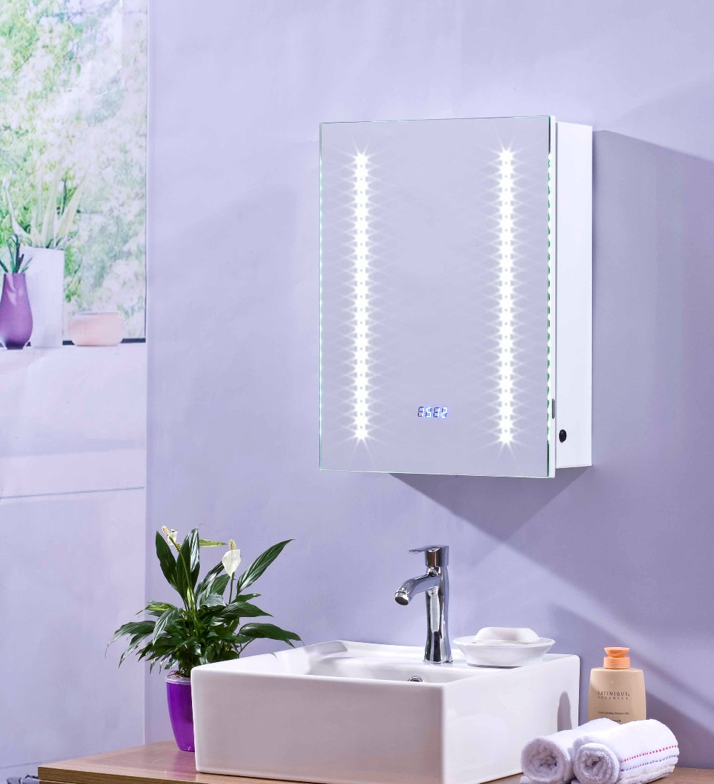Certificate LED Wall Bathroom Vanity Light silver Mirror Glass Hotel Bathroom Cabinet movable bathroom mirror