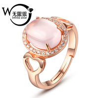 Fashion rose quartz 925 sterling silver ring jewelry Y20009