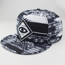 Best Selling Fashion Large Eye Printed Adult Hiphop Flat Cap Snapback