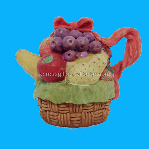 Miniature Resin Fruit Basket In Teapot Shape With Lid