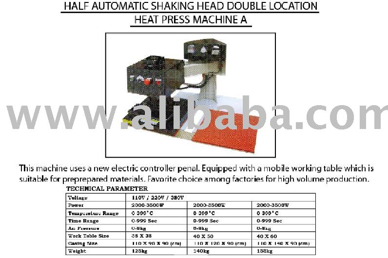 Half Automatic Shaking Head Double Location Heat Press Machine A