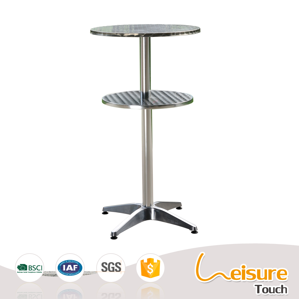 Fashionable anodized shiny round high stainless steel restaurant furniture bar table