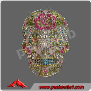 Custom Designs Skull Skeleton Rainbow Color Iron On Rhinestone Transfers