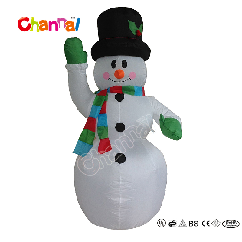 2017 Most Popular Outdoor Lighted Snowman Inflatable Christmas Snowman with Santa Hat in Stock For Party Decoration