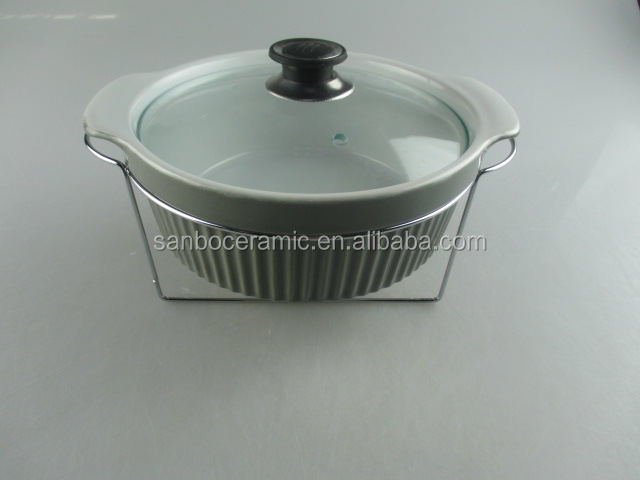 Cheap stocked colored porcelain dinnerware, cookware ,soup tureen with hob