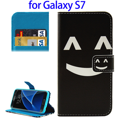 Smile Pattern Flip Wallet Leather PU Phone Case for Samsung S7 Online Shopping