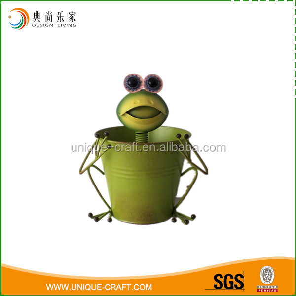 2016 metal planter pot with frog face for garden decoration
