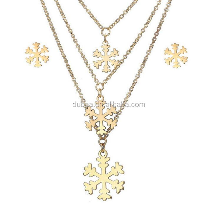 Stainless Steel Snowflake Flowers Pendant Necklace Earrings Jewelry Set Hot Gold Plated Stainless Steel 3 Charms Layers Necklace