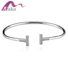 925 sterling silver double T shaped adjustable 3A zircon bangle