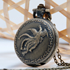 Medium Antique Bronze Phoenix Carved Locket Pocket Watch Necklace