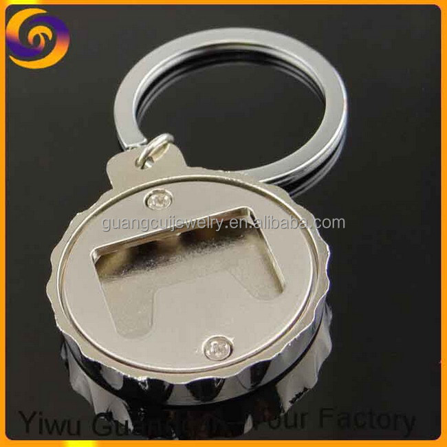 Zinc alloy metal cap bulk keychain bottle opener with logo
