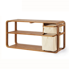 High Quality home <strong>furniture</strong> 2-tier Bamboo Wooden Shoes bench with rubbish bin