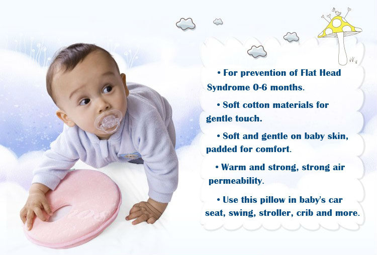 Custom Design Cute Orthopedic Kids Round Head Shaping Neck Support Sleep Size Memory Foam Infant Baby Bolster Head Pillow