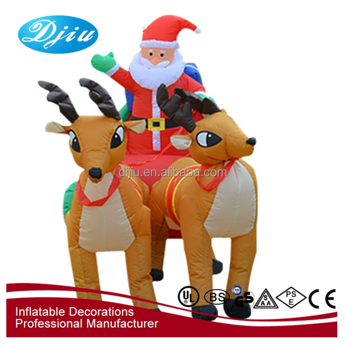 Best selling inflatable deer seld with santa Christmas outdoor decoration