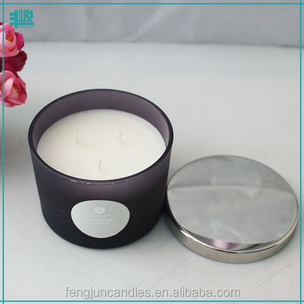 FJ068M personalized frosted purple glass jar soy scented 3 wick machine making candle with metal lid