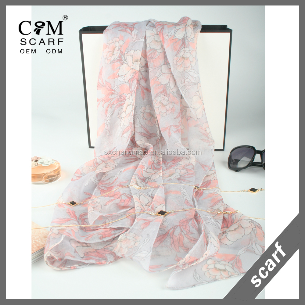 Womens Polyester Voile Scarf Lotus Pattern Soft Fashion Scarves Shawl Wrap