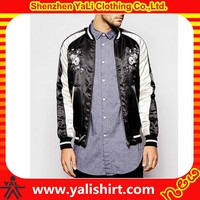 Wholesale new designer stylish fitness embroidery color block bomber shiny satin jacket for men