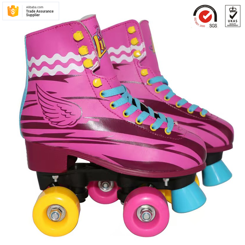Factory OEM acceptable Professional wings pattern design fix sizes durable rose red kids soy luna patines quad roller skates