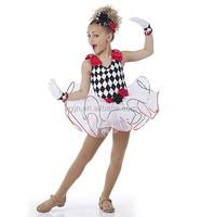 2016-Front lined red and print spandex leotard white and black child tutu dress