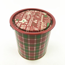 Dia11*13CM Christmas gift round tin can/metal bucket with handle